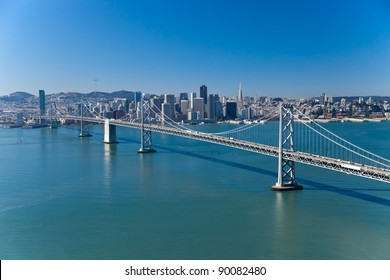 San Francisco Panorama with Bay bridge aerial view