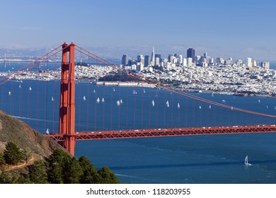San Francisco Panorama w Golden gate bridge from San Francisco Bay