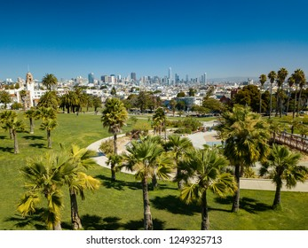 San Francisco Park with downtown skyline in the distance