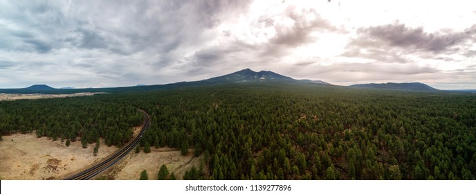 San Francisco Peaks of the Flagstaff Mountains captured by an aerial drone at 110 meters in altitude