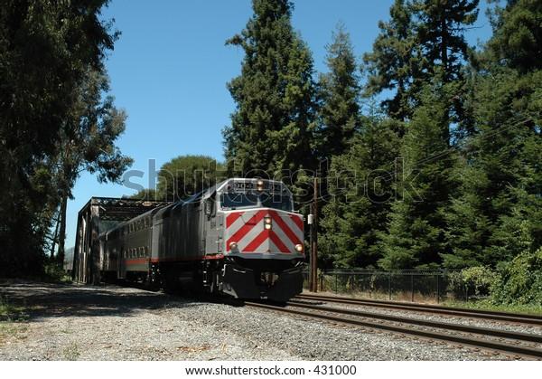 San Francisco Peninsula commuter train, Palo Alto, California