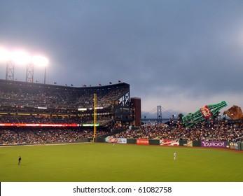 SAN FRANCISCO - SEPTEMBER 15: Dodgers vs. Giants: Dodger Oufielders stand in between plays at on a foggy night at ATT Park.  September 15 2010 at the ATT Park San Francisco California.