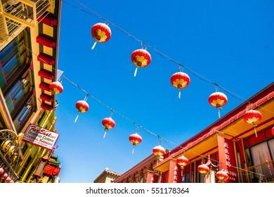 SAN FRANCISCO - September 20, 2015: Beautiful red Chinese lanterns in Chinatown of San Francisco, California, USA