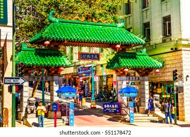 SAN FRANCISCO - September 20, 2015: Dragons Gate on Grant Avenue at Bush Street in Chinatown. The oldest Chinatown in North America and the largest Chinese community outside Asia.