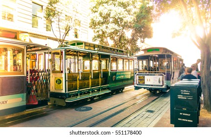 SAN FRANCISCO - September 22, 2015: Famous Cable Cars at Powell & Market Station Turntable in San Francisco, California. Powell-Hyde line train. Picture with vintage look