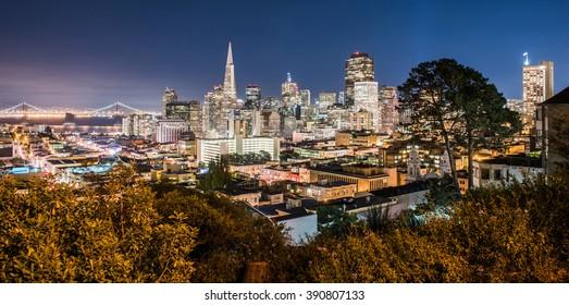 San Francisco skyline with Bay Bridge at night