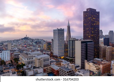 San Francisco skyline and the bay at dusk