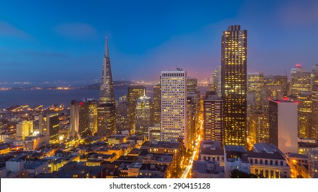 San Francisco skyline and city lights at dusk, California, USA