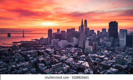 San Francisco Skyline with Colorful and Dramatic Sunrise