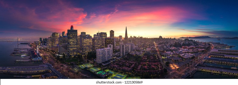 San Francisco Skyline with Dramatic Clouds at Sunset, California, USA