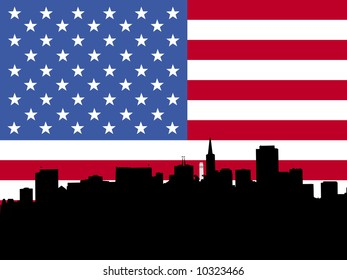 San Francisco skyline with flag illustration JPG