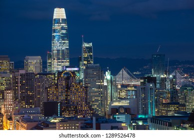 San Francisco Skyline at night, California, USA. Downtown and business center of San Francisco at dusk