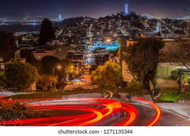 San Francisco skyline at night from the famous Lombard Street, California, USA