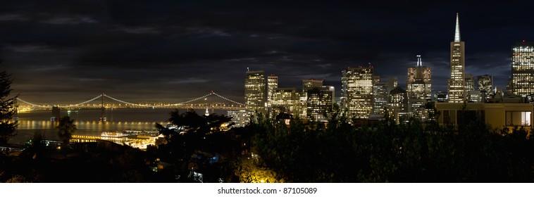 San Francisco Skyline and Oakland Bay Bridge at Blue Houe Panorama