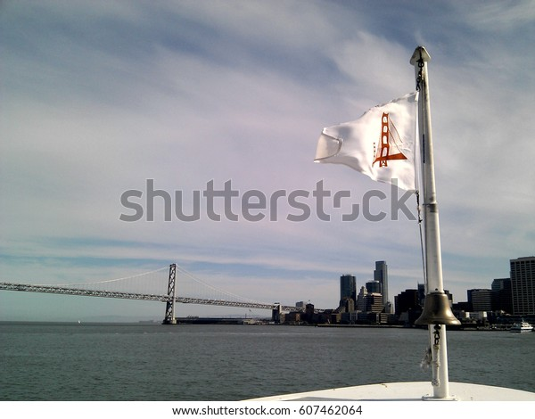 San Francisco Skyline and Oakland Bay Bridge from Sausalito Ferry