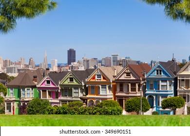 San Francisco skyline and painted ladies
