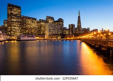 San Francisco skyline from Pier 7 at dusk.