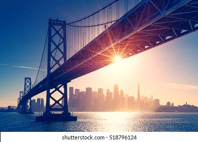 San Francisco skyline retro view. America spirit - California theme. USA background.