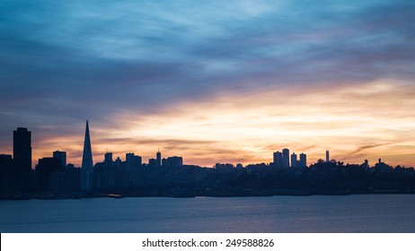 San Francisco skyline at sunset with dramatic clouds