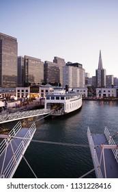 San Francisco Skyline at Twilight, Pier 3, California, USA.