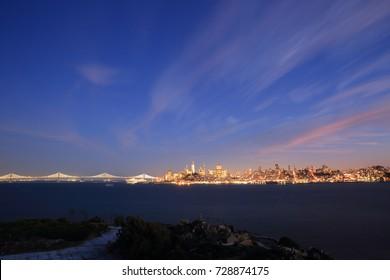 San Francisco Skyline - a view from The Alcatraz Island at twilight