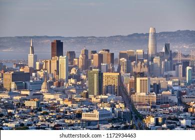 San Francisco skyline view from Twin Peaks, California, USA