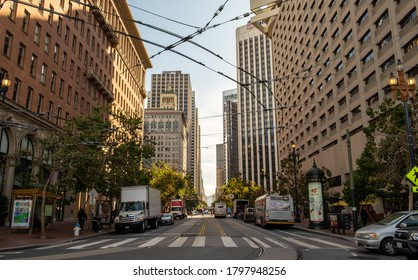 San Francisco street between skyscrapers, August 2019, United States of America