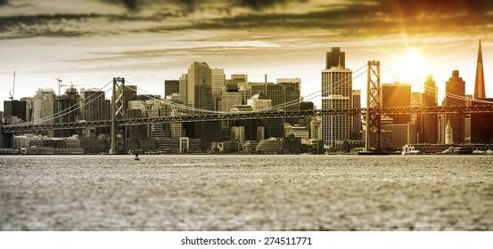 San Francisco Sunset Panorama with Oakland Bay Bridge. United States.