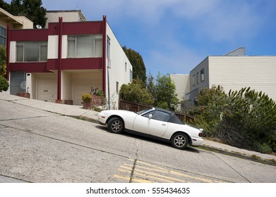 San Francisco Typical Street with parked car, California.