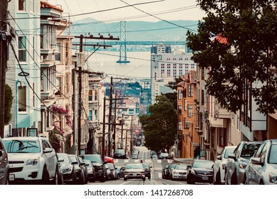 San Francisco, United States - February 03 2019: Streets and buildings in the center of the Californian city of San Francisco, famous for the steep climbs and the Chinese district