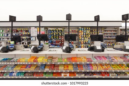 SAN FRANCISCO, UNITED STATES - JAN 14, 2018: Checkout counter in of the Walgreens store. The Walgreen Company is an American pharmaceutical company which operates the second-largest chain in the USA.