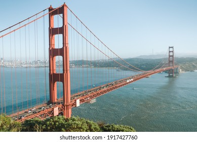 SAN FRANCISCO, UNITED STATES - Jan 07, 2020: Golden gate bridge in the afternoon in San Francisco