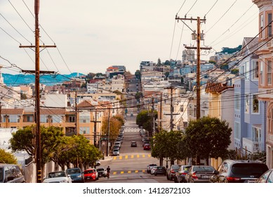 San Francisco, United States - January 30 2019: panoramic view of the city of San Francisco in California
