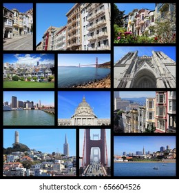 San Francisco, United States. Travel collage with places and landmarks.