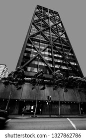 SAN FRANCISCO, US - OCT 3, 2012: Office tower One Maritime Plaza in San Francisco on Oct 3, 2012. It's one of the first buildings to use seismic bracing in the form of external trusses and X-braces.