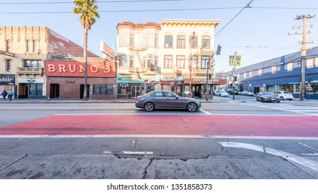 SAN FRANCISCO, USA - 10 Jul 2018: A heritage old cottage dominates a crossroads in Liberty Street Historic District, a heritage neighborhood with typical houses in San Francisco, California, USA.