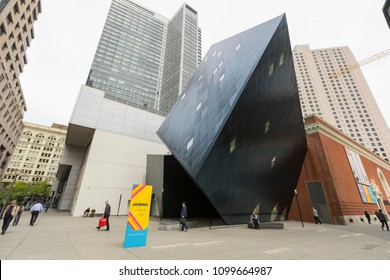 San Francisco, USA - April 19,2018 : The Contemporary Jewish Museum in downtown San Francisco, California on April 19,2018. The museum is located near Yerba Buena Gardens.