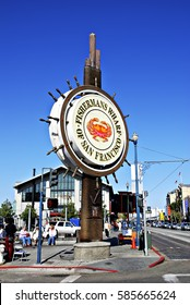 San Francisco, USA - April 2, 2008: Famous Fisherman's Wharf sign - Seafood and king crab in San Francisco. Straight from the Bay to your Plate