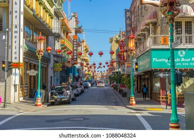 San Francisco, USA - April 20,2018 : Street view of China Town in San Francisco,USA  on April 20,2018.