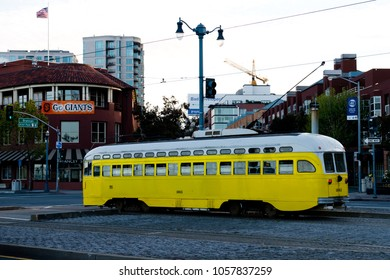 San Francisco, USA - April 25, 2015: Old tram on the evening Embarcadero street