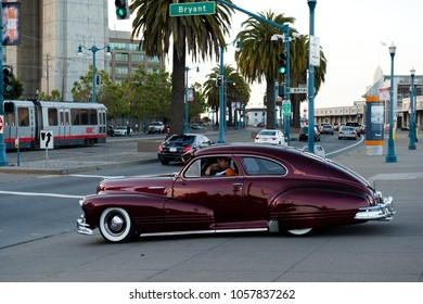 San Francisco, USA - April 25, 2015: Vintage customs car on the Embarcadero street