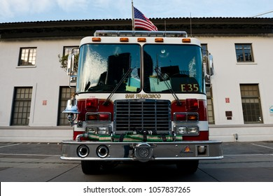 San Francisco, USA - April 25, 2015: Fire truck standing on the Embarcadero street