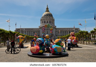 San Francisco, USA - April 25, 2015: Hung Yi exhibition near San Francisco city hall