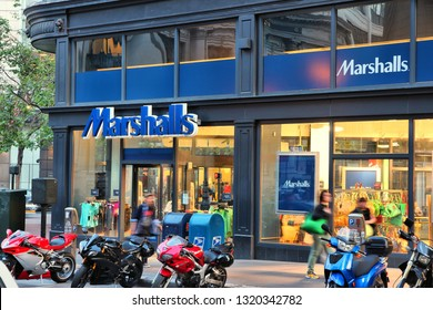 SAN FRANCISCO, USA - APRIL 8, 2014: Marshalls department store in San Francisco, USA. Marshalls is a part of TJX Companies and specializes in discount, outlet and off price goods.