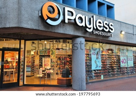642498f9a4c62 SAN FRANCISCO, USA - APRIL 8, 2014: Shoppers visit Payless Shoesource footwear  store
