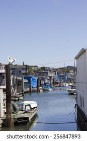 SAN FRANCISCO, USA - AUG 11 2013: Sausalito houseboats, in the San Francisco Bay Area, picturesque residential community