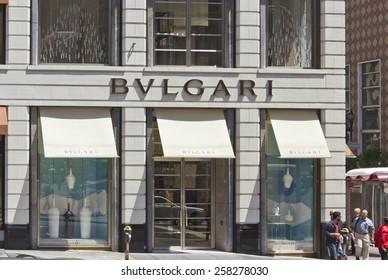SAN FRANCISCO, USA - AUG 12 2013: Union Square in downtown San Francisco, view of the  Bulgari shop