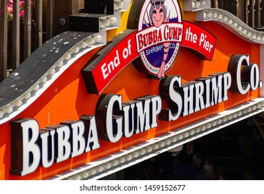 San Francisco, USA - August 18, 2018, the inscription of Bubba Gump Shrimp Co., close-up with blurred depth of field at pier 39 in San Francisco. Concept, tourism, travel.