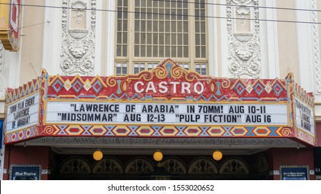 San Francisco, USA - August 2019: Lawrence of Arabia and Pulp Fiction playing in Castro theater