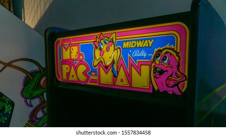 San Francisco, USA - August 2019: Vintage arcade machine for Ms Pacman from Midway